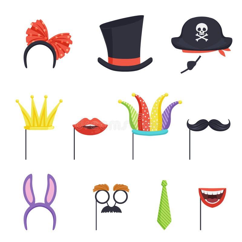 Kolorowy set z różnorodnymi karnawałowymi akcesoriami Obręcz z łęku i królika ucho, krawat, kartonowa korona, wargi, wąsy ilustracja wektor