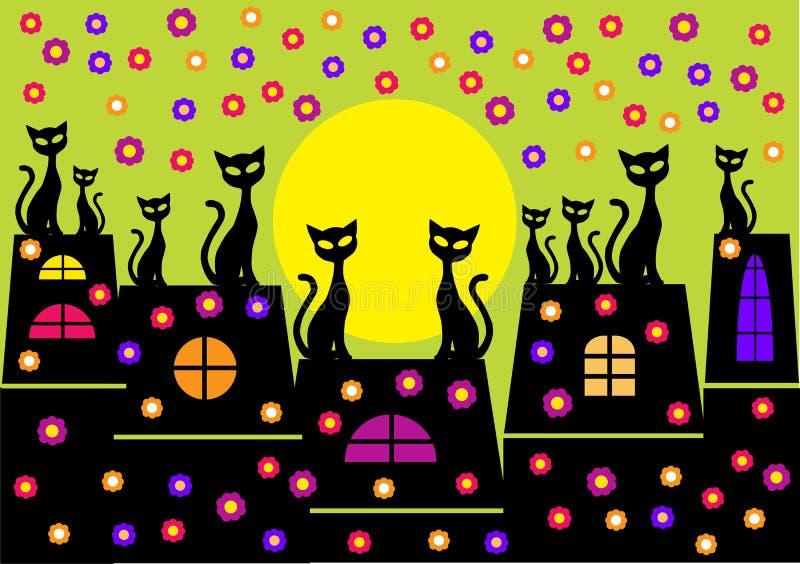 Wiosny ilustracja z kot sylwetkami ilustracji