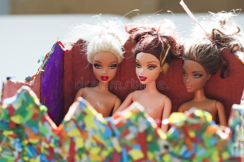Kolorowy skład z Barbie lalami zdjęcie stock