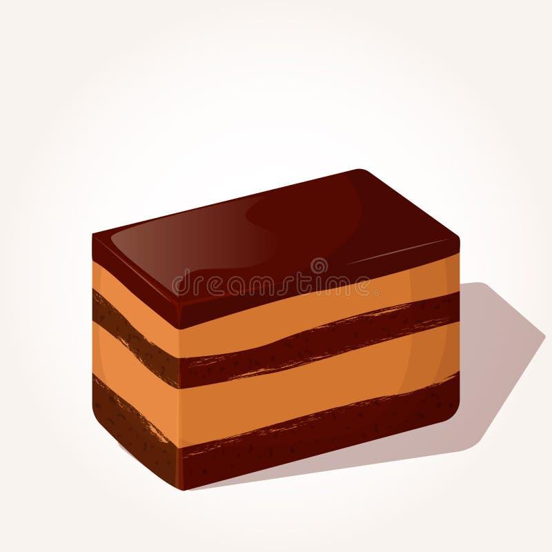 Kolorowy smakowity kawałek czekoladowy tort w kreskówka stylu odizolowywającym na białym tle również zwrócić corel ilustracji wek royalty ilustracja