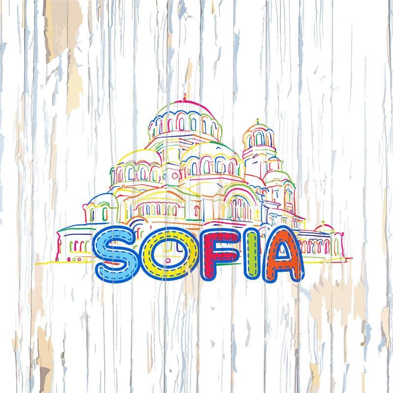 Kolorowy Sofia rysunek na drewnianym tle ilustracja wektor
