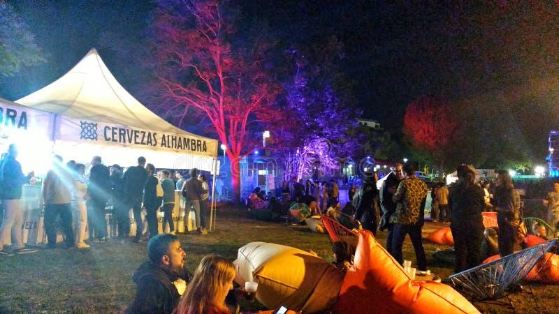 Kolorowy spoczynkowy teren w elektronicznym festiwalu muzykim obraz stock