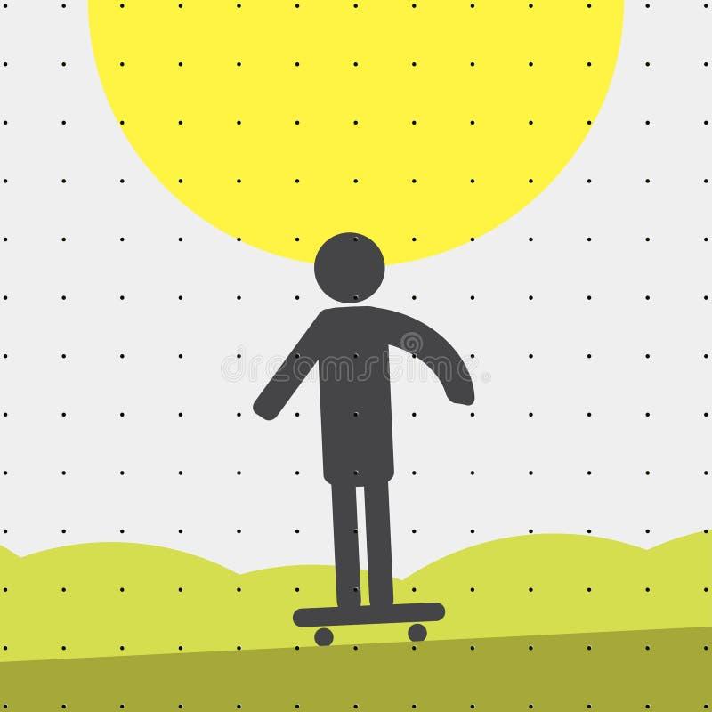 Kolorowy sporta stylu minimalizmu mieszkanie dla handlowych stron internetowych Atleta na łyżwie wektor ilustracja wektor