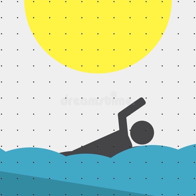 Kolorowy sporta stylu minimalizmu mieszkanie dla handlowych stron internetowych Atlety dopłynięcie w wodzie wektor ilustracji