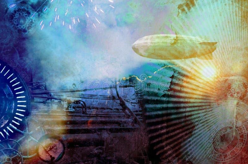 Kolorowy steampunk tło ilustracja wektor