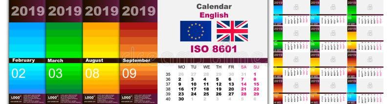 Kolorowy stubarwny ścienny kalendarz dla 2019 w Angielskim Set 12 miesiąca Tygodni początki na Poniedziałku wektor royalty ilustracja
