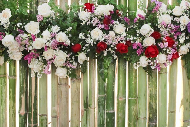 Kolorowy stubarwny ornamentacyjny piękne czerwone i różowe róże kwitnie wzór grupy z stokrotki teksturą na bambus ścianie natural obraz stock