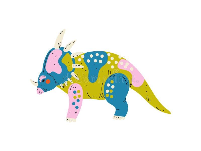 Kolorowy Styracosaurus dinosaur, Śliczna Prehistoryczna Zwierzęca Wektorowa ilustracja ilustracji