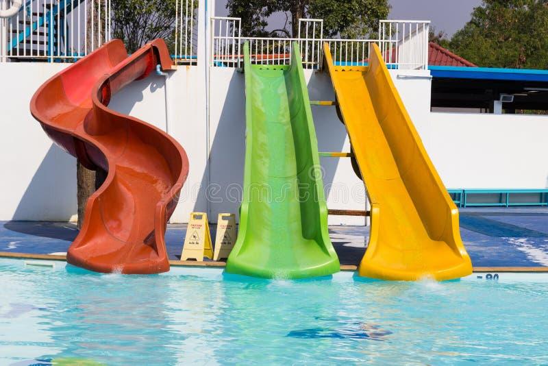Kolorowy suwak obok pływackiego basenu obrazy royalty free