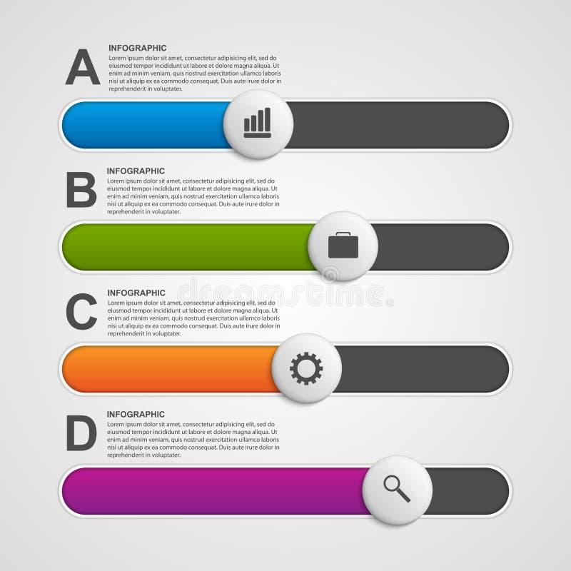 Kolorowy suwaka biznes infographic cztery elementy projektu tła snowfiake białego royalty ilustracja