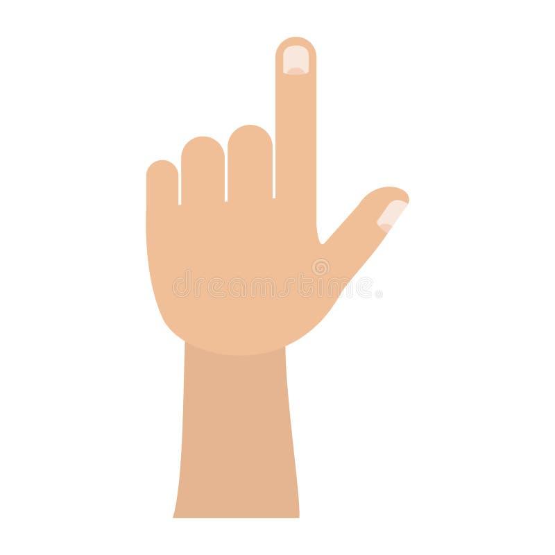 Kolorowy sylwetka wizerunek lewa ręka gest ilustracja wektor