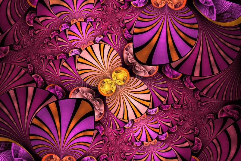 Kolorowy Symetryczny fractal kwiat Cyfrowej grafika dla kreatywnie graficznego projekta motyla opadowy kwiecisty kwiatów serca wz royalty ilustracja
