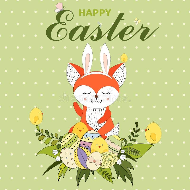 Kolorowy Szczęśliwy Wielkanocny kartka z pozdrowieniami z lisem z królików ucho, małymi kurczakami, Wielkanocnymi jajkami, kwiate ilustracji