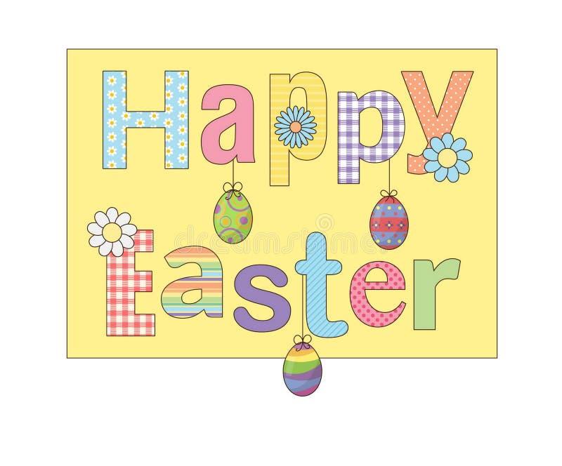 Kolorowy Szczęśliwy Wielkanocny kartka z pozdrowieniami z kwiatów jajkami i fantazja deseniowaliśmy chrzcielnicy Dla kart, sztand royalty ilustracja