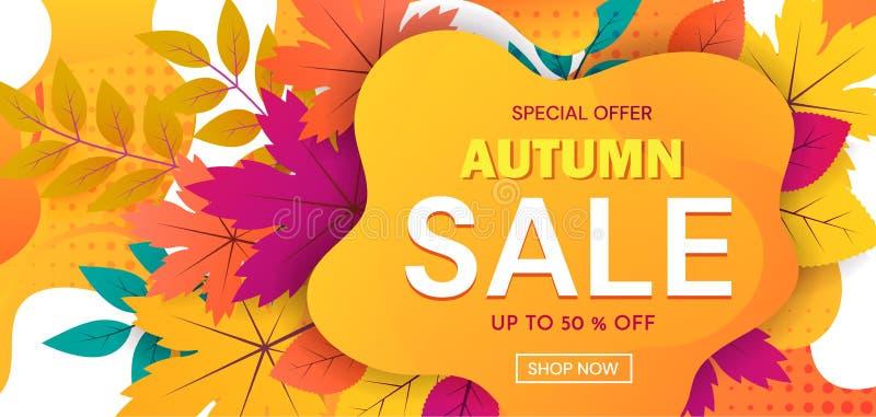 Kolorowy sztandar reklamuje jesieni sprzedaż z 50 procentów ofertami specjalnymi z tekstem na abstrakcjonistycznej pomarańcze i r royalty ilustracja