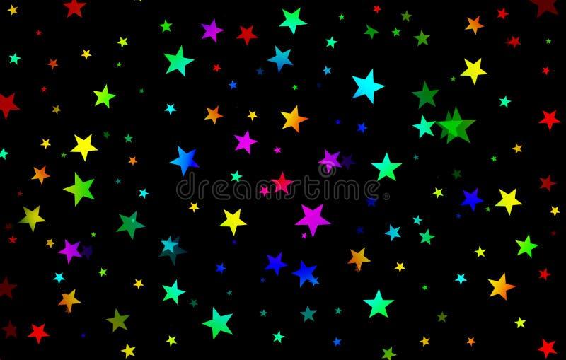 Kolorowy tęczy tło gwiazdy, jaskrawy, rozpraszać gwiazdy, noc, czerń, czerwień, błękit, zieleń, kolor żółty, wakacje, zabawa, prz ilustracji