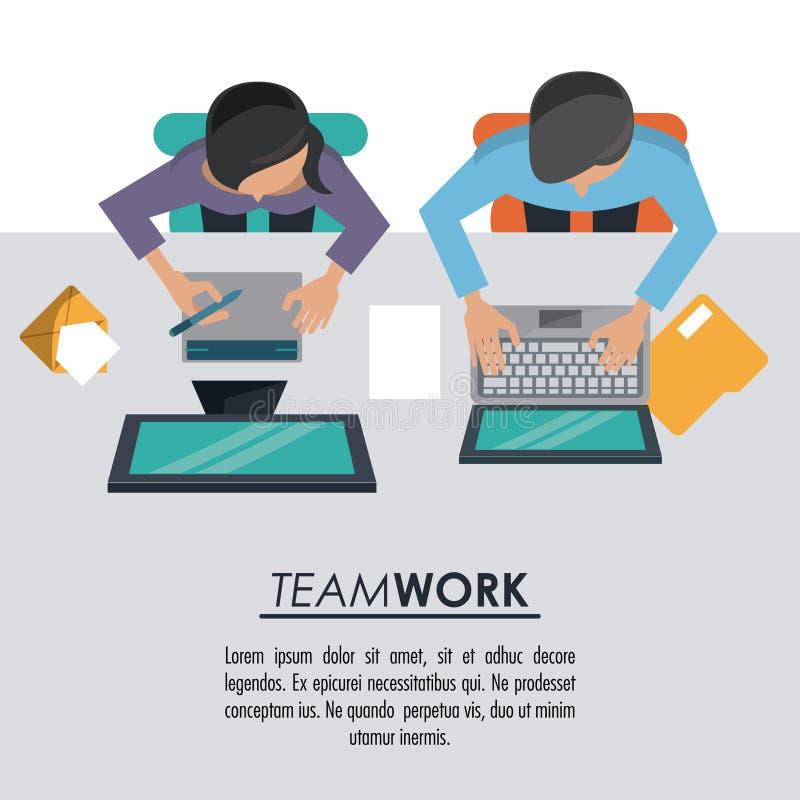Kolorowy tło na odgórnym widoku plakat praca zespołowa między mężczyzna oba z komputerami i kobietą royalty ilustracja