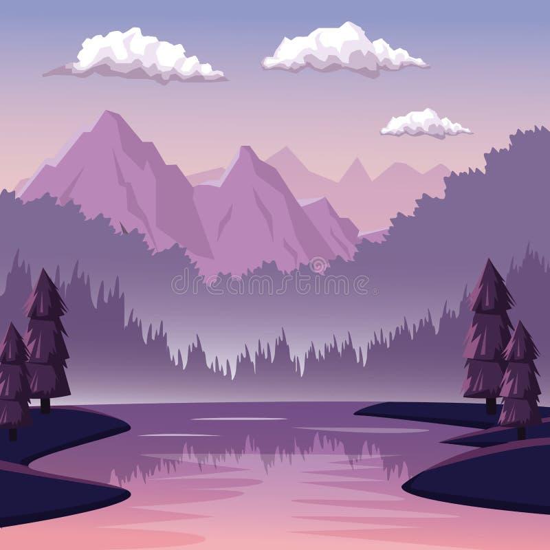Kolorowy tło z świtu krajobrazem góra i rzeka royalty ilustracja