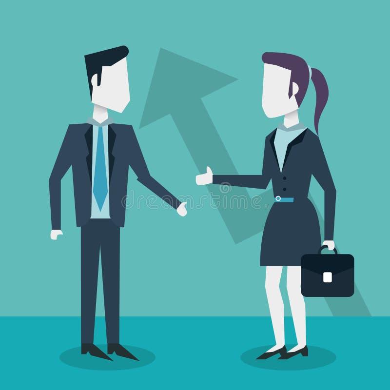 Kolorowy tło z biznesowym mężczyzna w kostiumu i kobiecie z wykonawczą teczką ilustracja wektor