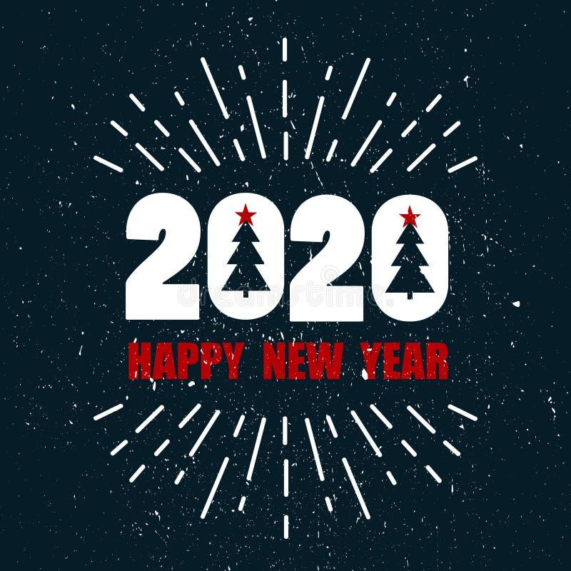 Kolorowy tło z 2020, bożych narodzeń jedlinowi drzewa, fajerwerk, angielski tekst t?o dekoracyjny Szcz??liwy nowy rok, kartka z p ilustracji