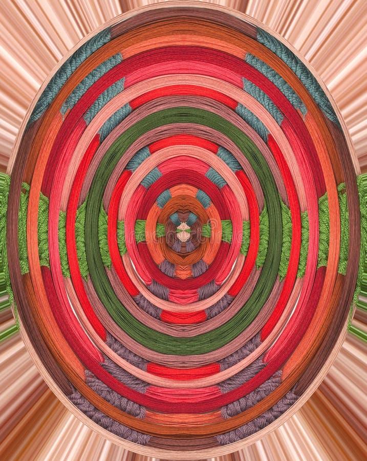 Kolorowy tło z czerwieni, zieleni, błękita, menchii, purpurowej i brown przędzą, zdjęcia stock