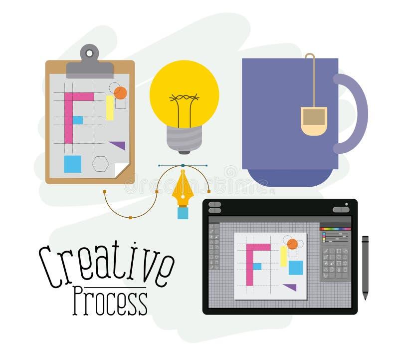 Kolorowy tło z elementami kreatywnie proces i projektant grafiki stół ilustracja wektor