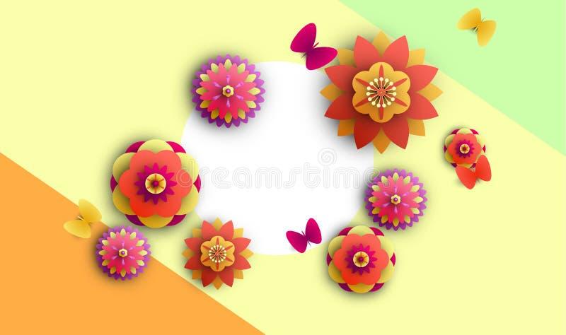 Kolorowy tło z kwiatami i motylami ilustracja wektor