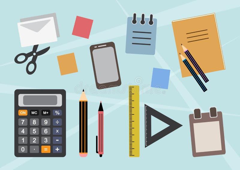 Kolorowy t?o z materia?y, biurowych lub szkolnych dostawami, wektor ilustracja wektor
