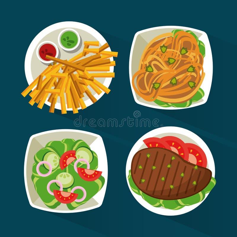 Kolorowy tło z naczyń foods z mięsem, makaron, sałatka i dłoniaki royalty ilustracja