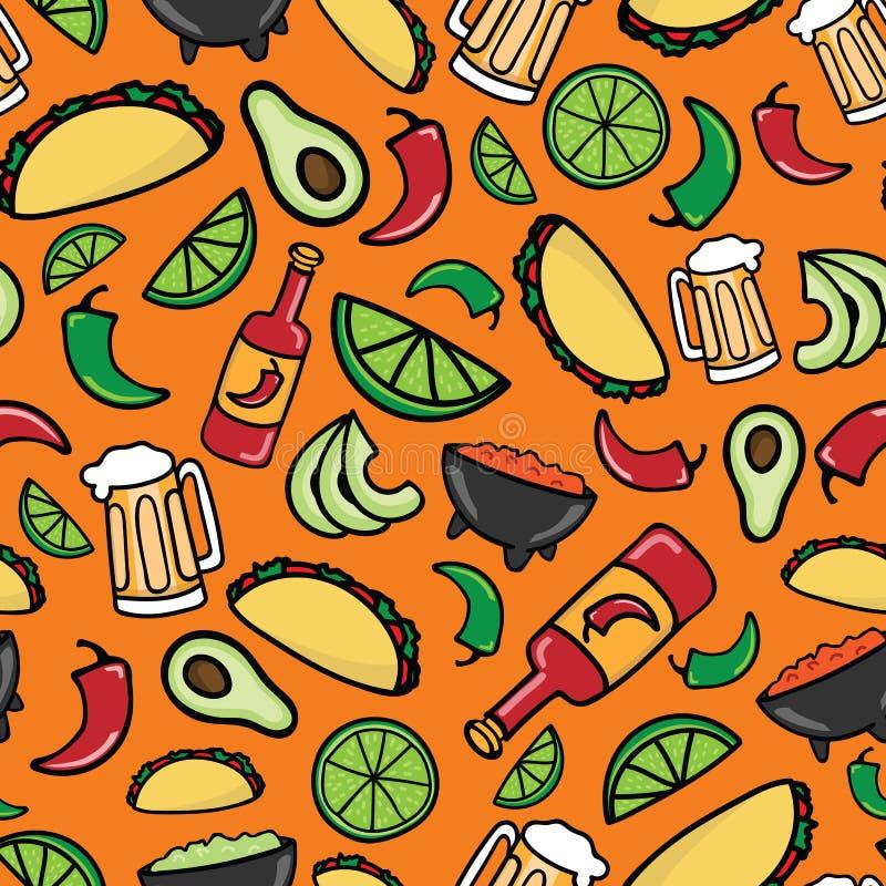 Kolorowy Taco czasu fiesta bezszwowy wzór ilustracja wektor