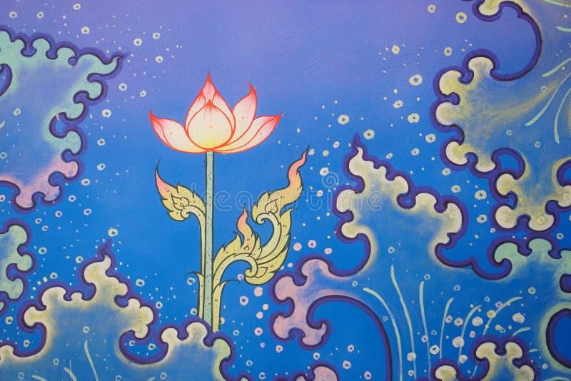 Kolorowy Tajlandzki tradycyjny deseniowy świątynny ścienny obraz, wodna fala, lotos ilustracja wektor