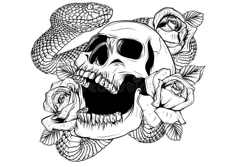 Kolorowy tatua?u projekt z czaszk?, r??ami i w??em, ilustracja royalty ilustracja