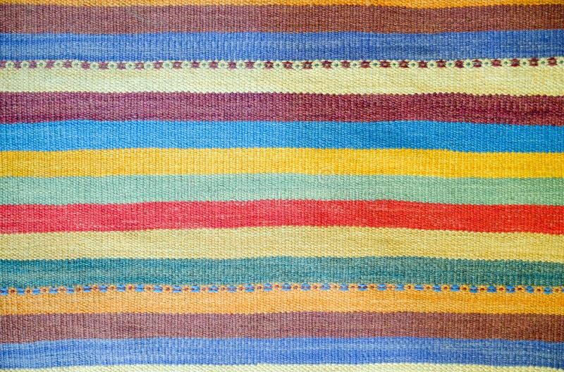 Kolorowy tradycyjny Peruwiański styl, zakończenie dywanika powierzchnia fotografia stock
