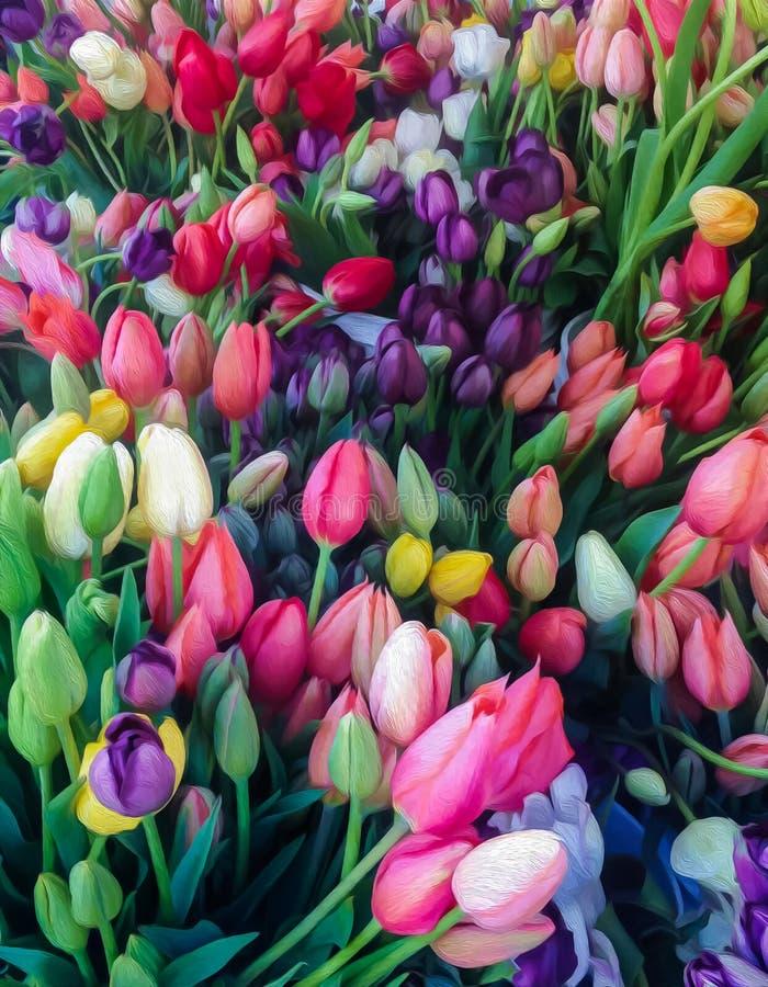 Kolorowy tulipanowy fotografii farby skutek fotografia royalty free