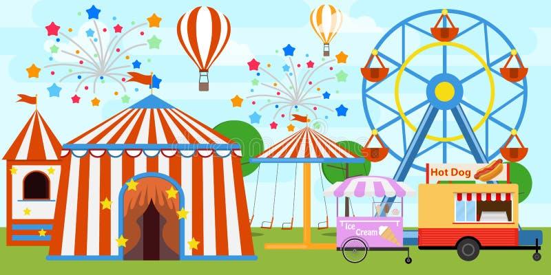 Kolorowy uczciwy namiot i ferris toczymy wewnątrz parka rozrywkiego Kreskówka park rozrywki z cyrkiem, carousels royalty ilustracja
