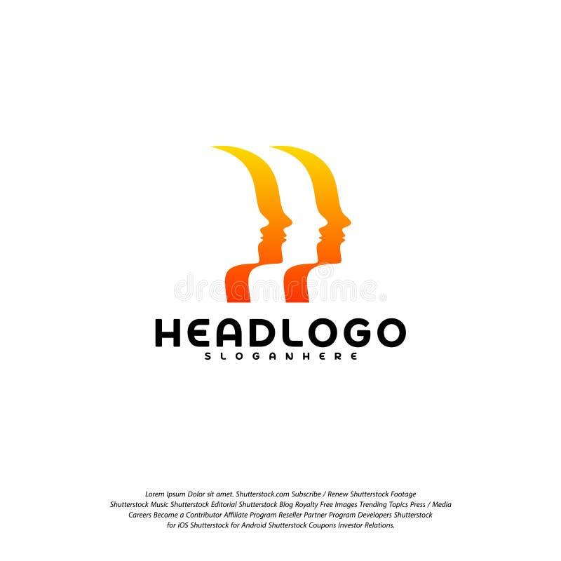 Kolorowy umysłu logo wektor, Kierowniczy inteligencja logo projektów pojęcia wektor royalty ilustracja