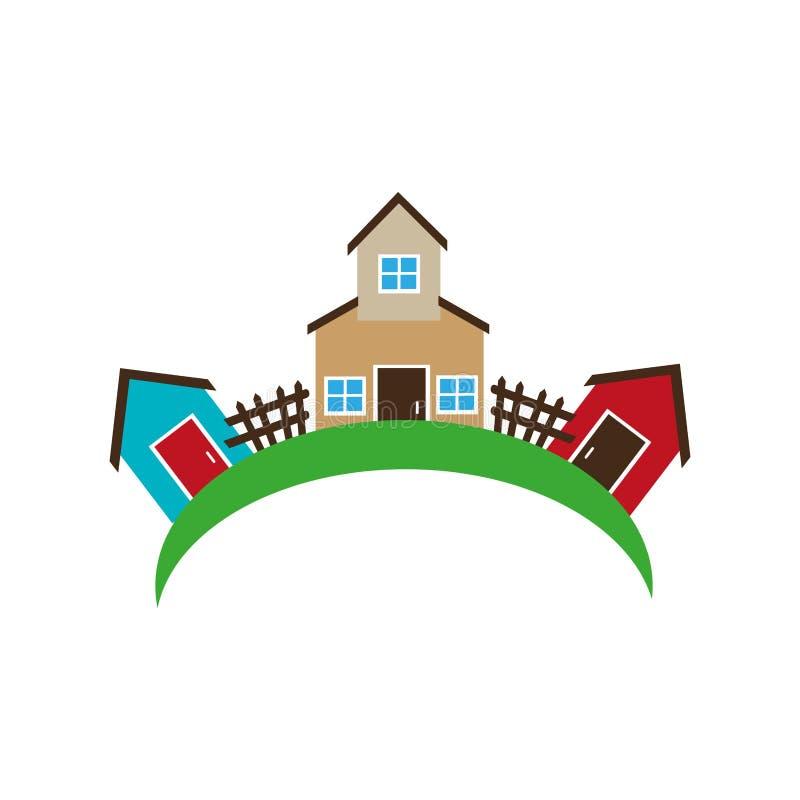 Kolorowy ustalony kolekci gospodarstwo rolne, domy i ilustracji
