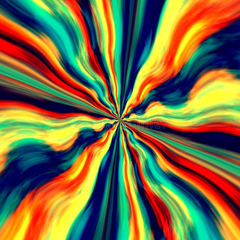 Kolorowy Vortex tło, Screensaver i Abstrakcjonistyczna Błękitna Pomarańczowa Generatywna sztuka Graffiti kiści farba Fantazi ilus ilustracji