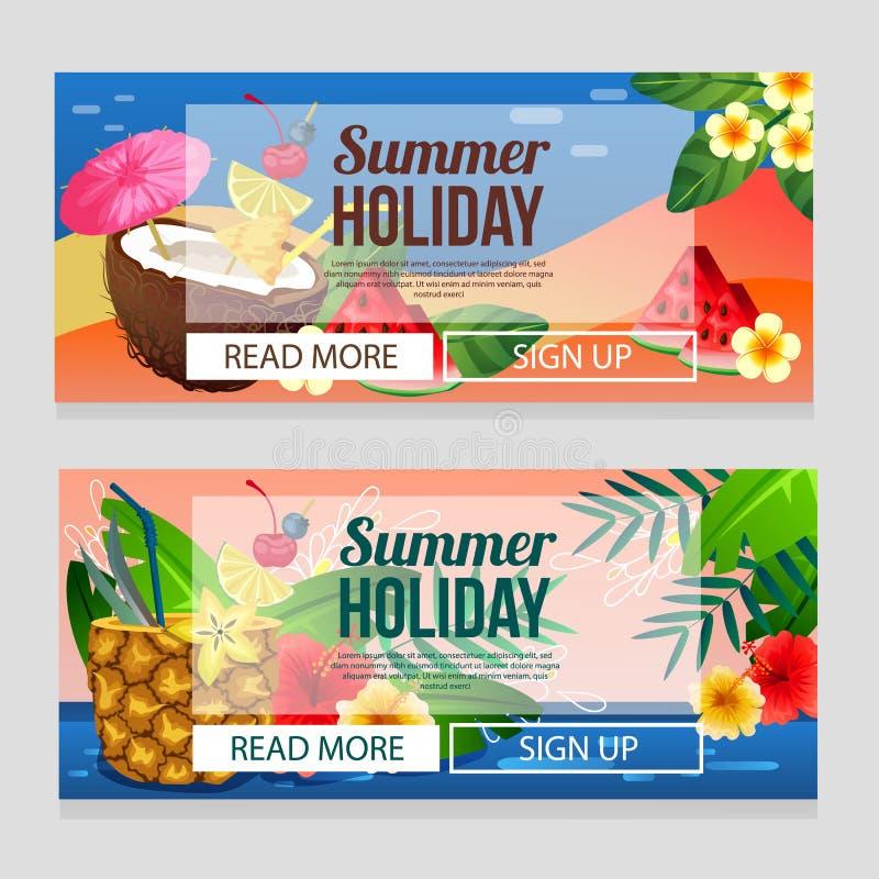 Kolorowy wakacje letni sztandar z koktajlu napoju tematem royalty ilustracja