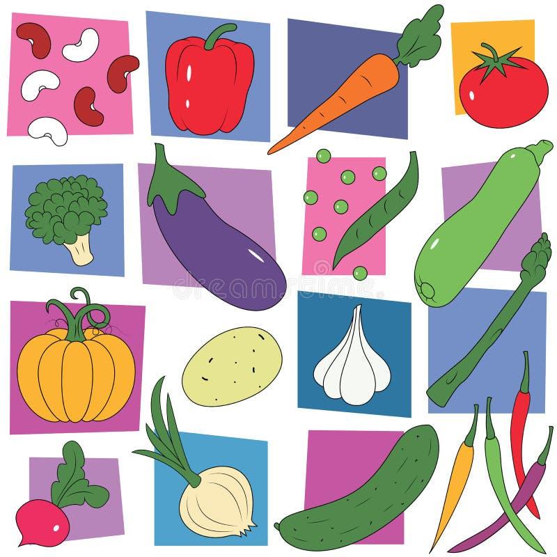 Kolorowy warzywo kolekci tło royalty ilustracja