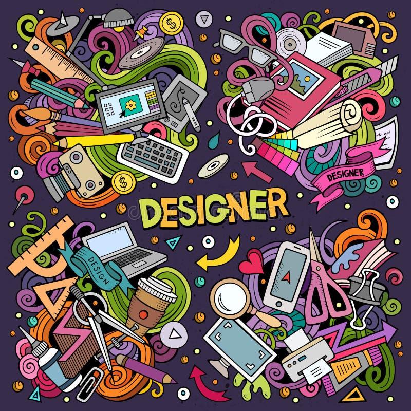 Kolorowy wektor doodles kreskówkę ustawiającą projektant kombinacje przedmioty ilustracja wektor