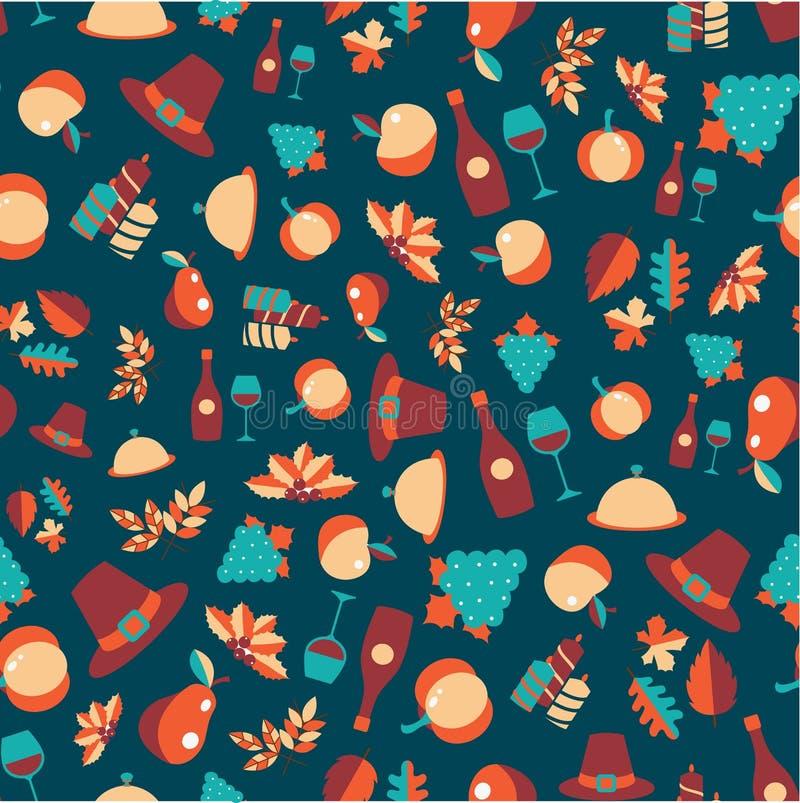 Kolorowy wektorowy bezszwowy wzór dziękczynienie symbole i przedmioty ilustracja wektor