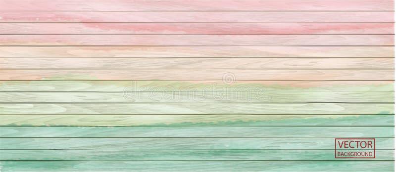Kolorowy wektorowy drewniany chodnikowiec w akwarela stylu na tęczy tle Tło, horyzontalny sztandar ilustracja wektor