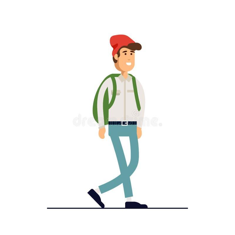 Kolorowy wektorowy ilustracyjny trwanie szczęśliwy młody człowiek jest ubranym koszula i drelichu spodnia Płaski kreskówka modnis ilustracja wektor