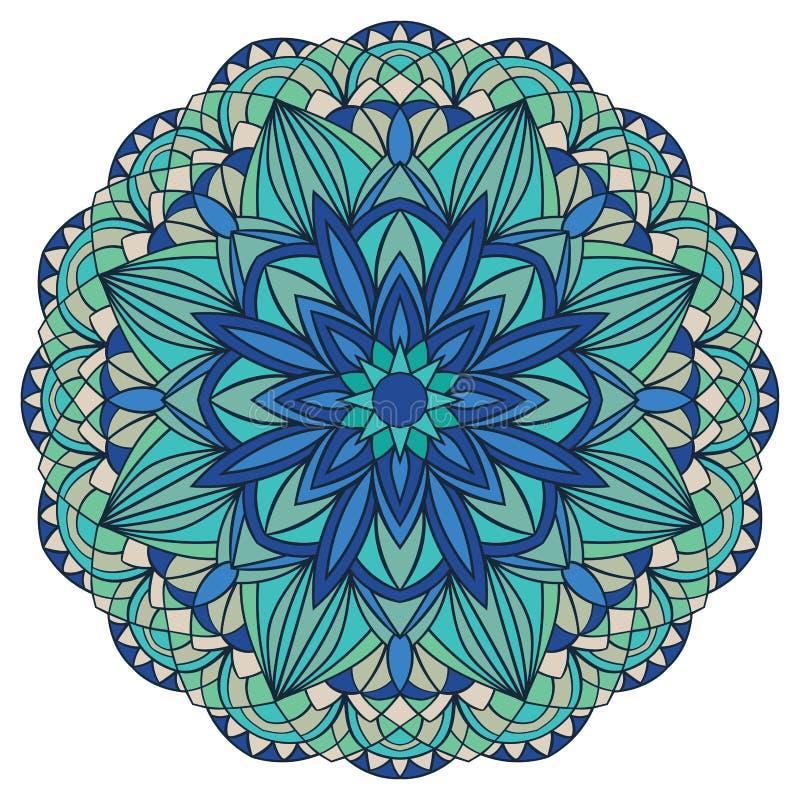 Kolorowy, wektorowy mandala w błękitnych brzmieniach, ilustracji