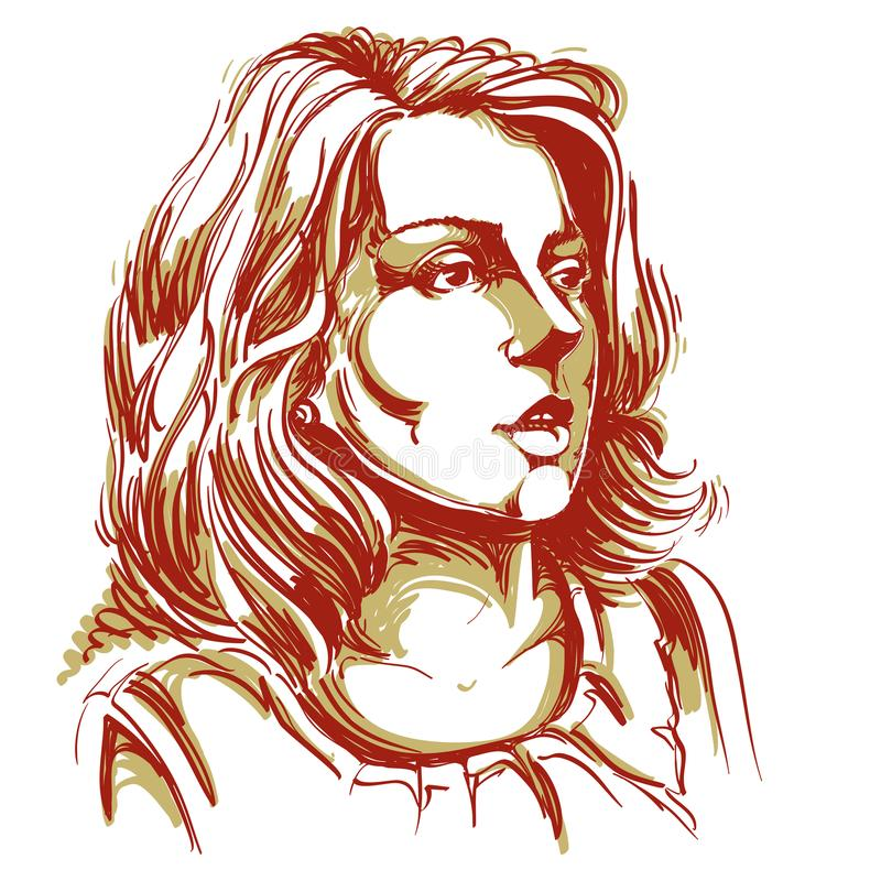 Kolorowy wektorowy pociągany ręcznie wizerunek, zadziwiająca młoda kobieta Czerń i royalty ilustracja