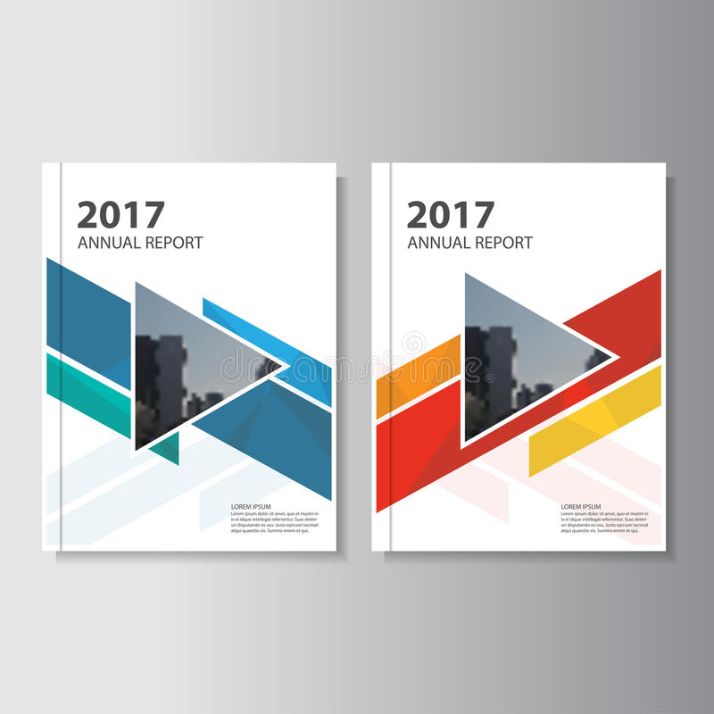 Kolorowy Wektorowy sprawozdanie roczne ulotki broszurki ulotki szablonu projekt, książkowej pokrywy układu projekt royalty ilustracja