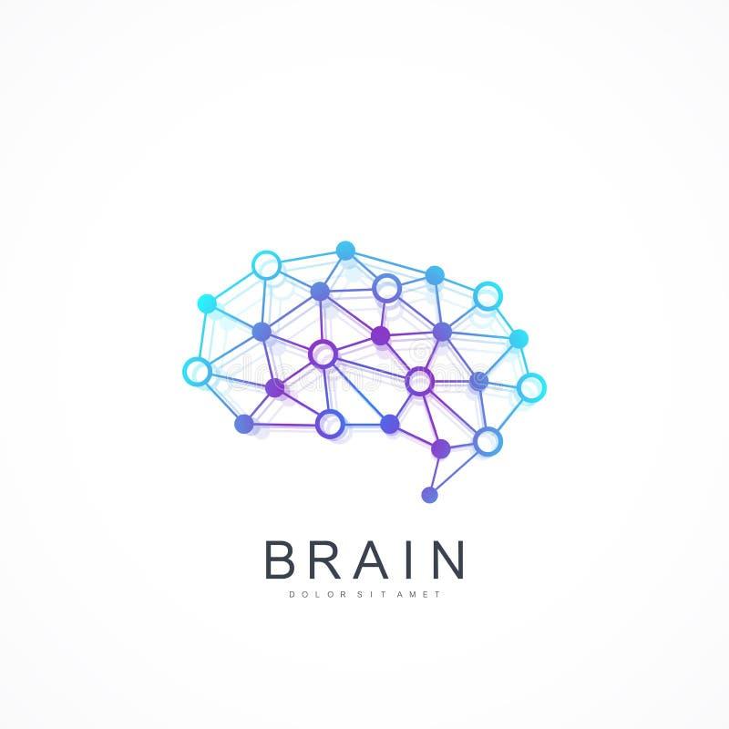Kolorowy Wektorowy szablonu mózg logo Sztucznej inteligenci logo Sztucznej inteligenci i Maszynowego uczenie pojęcie ilustracji