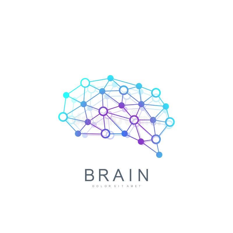 Kolorowy Wektorowy szablonu mózg logo Kreatywnie pomysłu pojęcia projekta logotypu Móżdżkowa ikona ilustracja wektor