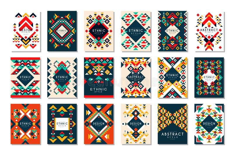 Kolorowy wektorowy ustawiający 9 karcianych szablonów z geometrycznymi kształtami Abstrakcjonistyczny etniczny wzór Elementy dla  ilustracji